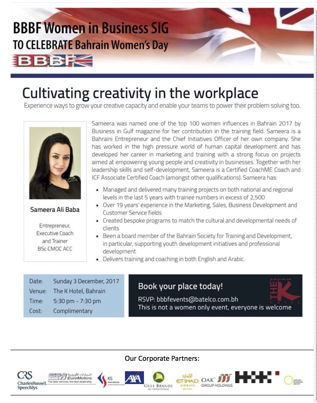 BBBF Women in Business Special Interest Group Sunday 3rd December 3017 Cultivating creativity in the workplace