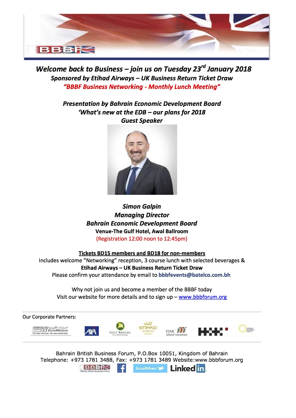 23 January Guest Speaker EDB at the BBBF Business Lunch meeting